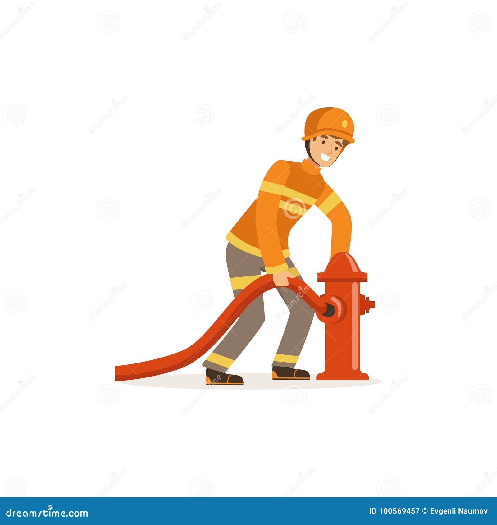 Le caractère de pompier dans l uniforme et l eau se reliante de casque de protection arrosent au jet à la bouche d incendie, sape