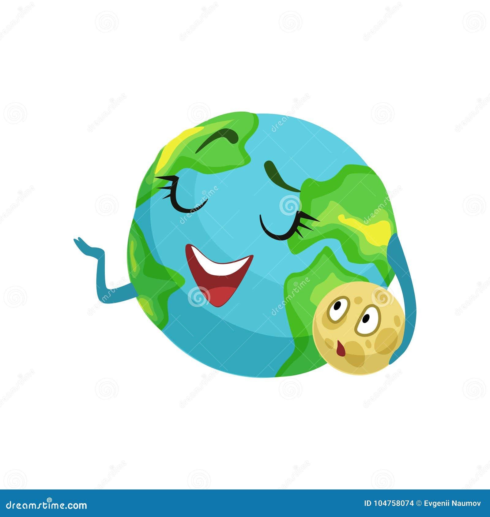Le caractère heureux de planète de la terre tenant la lune dans sa main, le globe mignon avec le visage souriant et les mains dir