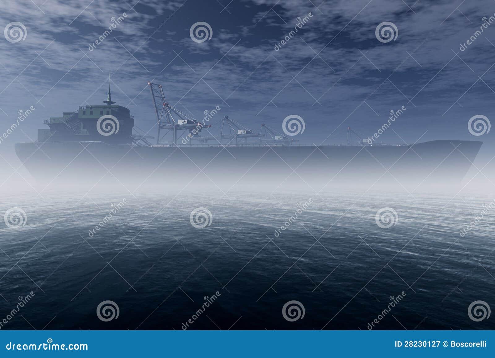 Le cargo dans le port industriel très brumeux 3D rendent 1