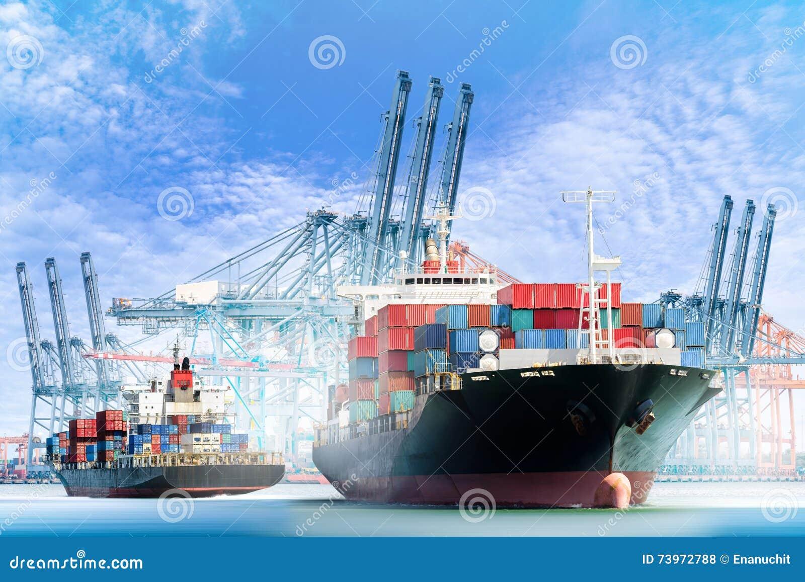 Le cargo de récipient avec des ports tendent le cou le pont dans le port