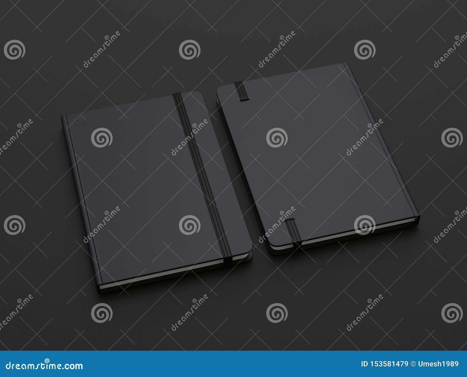 Le carnet avec la fermeture de bande élastique pour stigmatiser et faux vides, 3d rendent l illustration