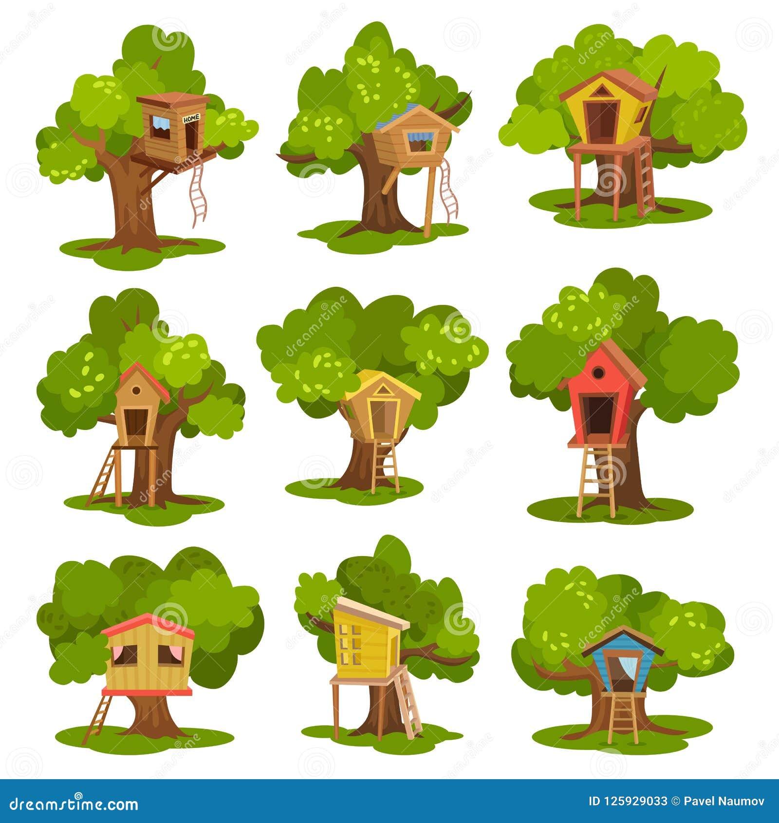 Le case sull albero hanno messo, capanne di legno sugli alberi verdi per i bambini illustrazioni di vettore della ricreazione e d