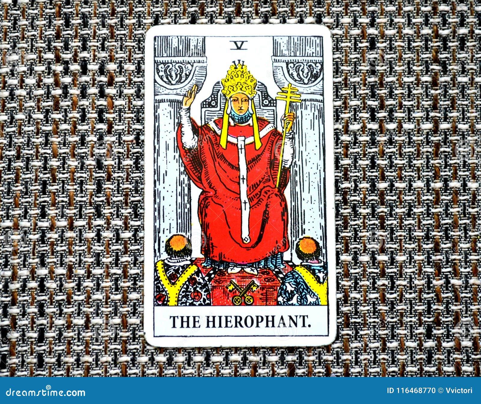 Le ccult de Guru de tradition d éducation d établissements de carte de tarot de Hierophant