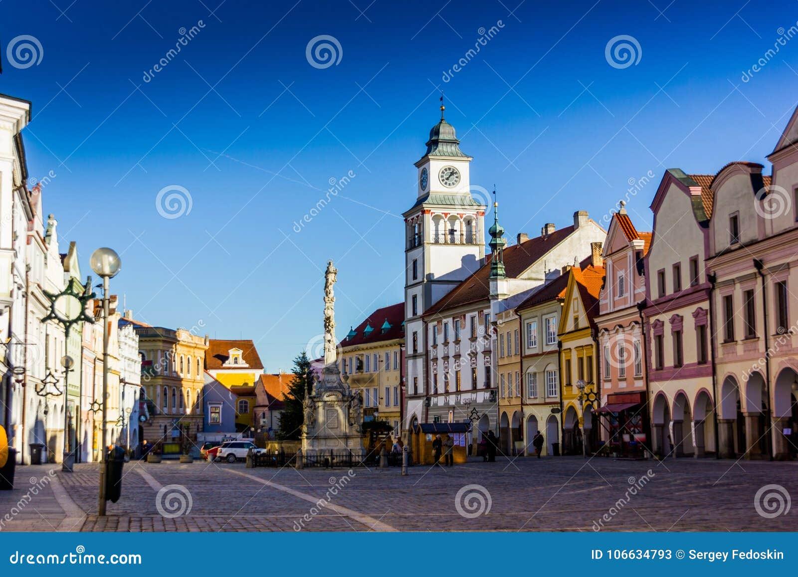 Le centre ville dans Trebon, République Tchèque