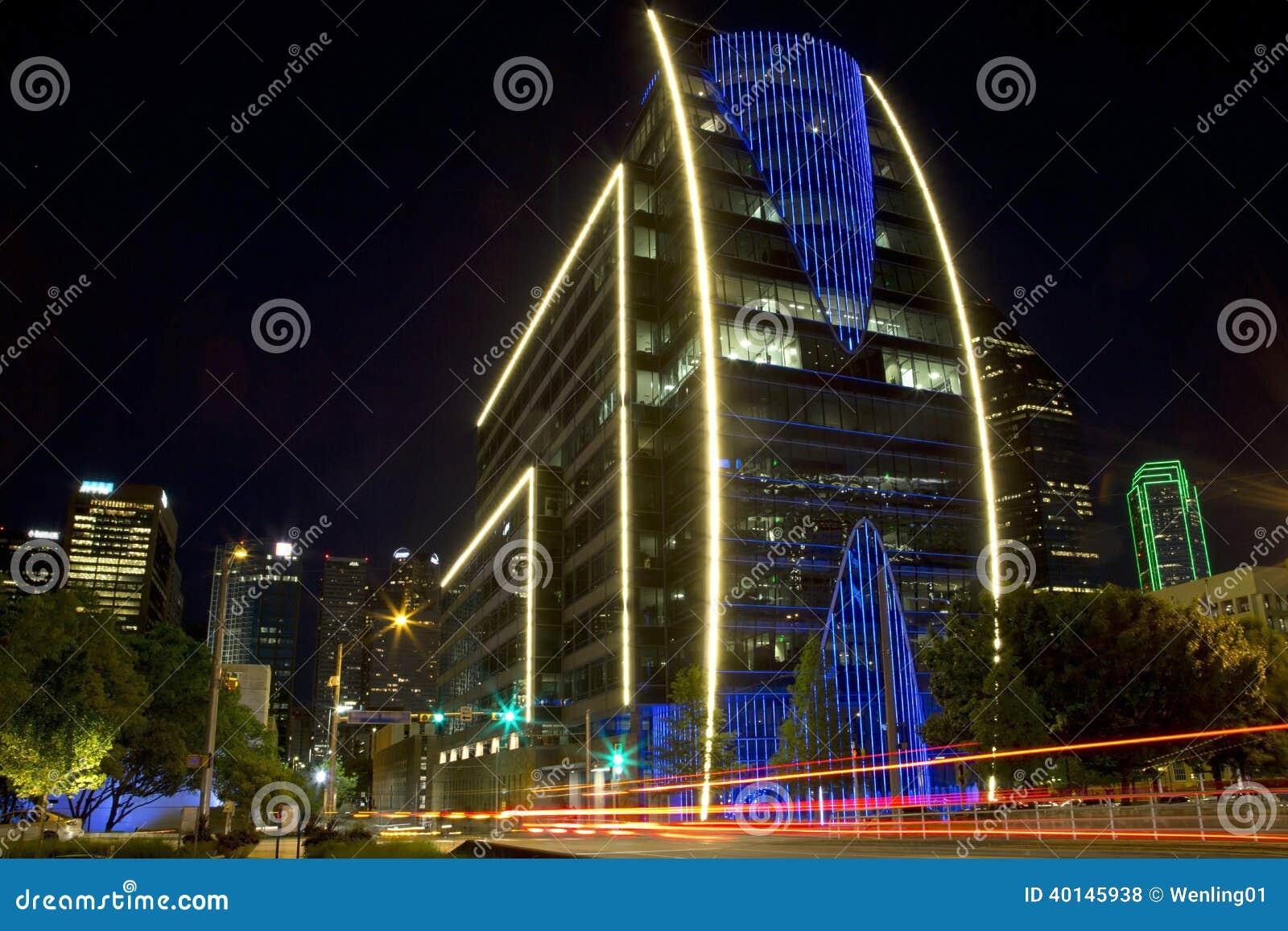 Le centre ville de Dallas la nuit