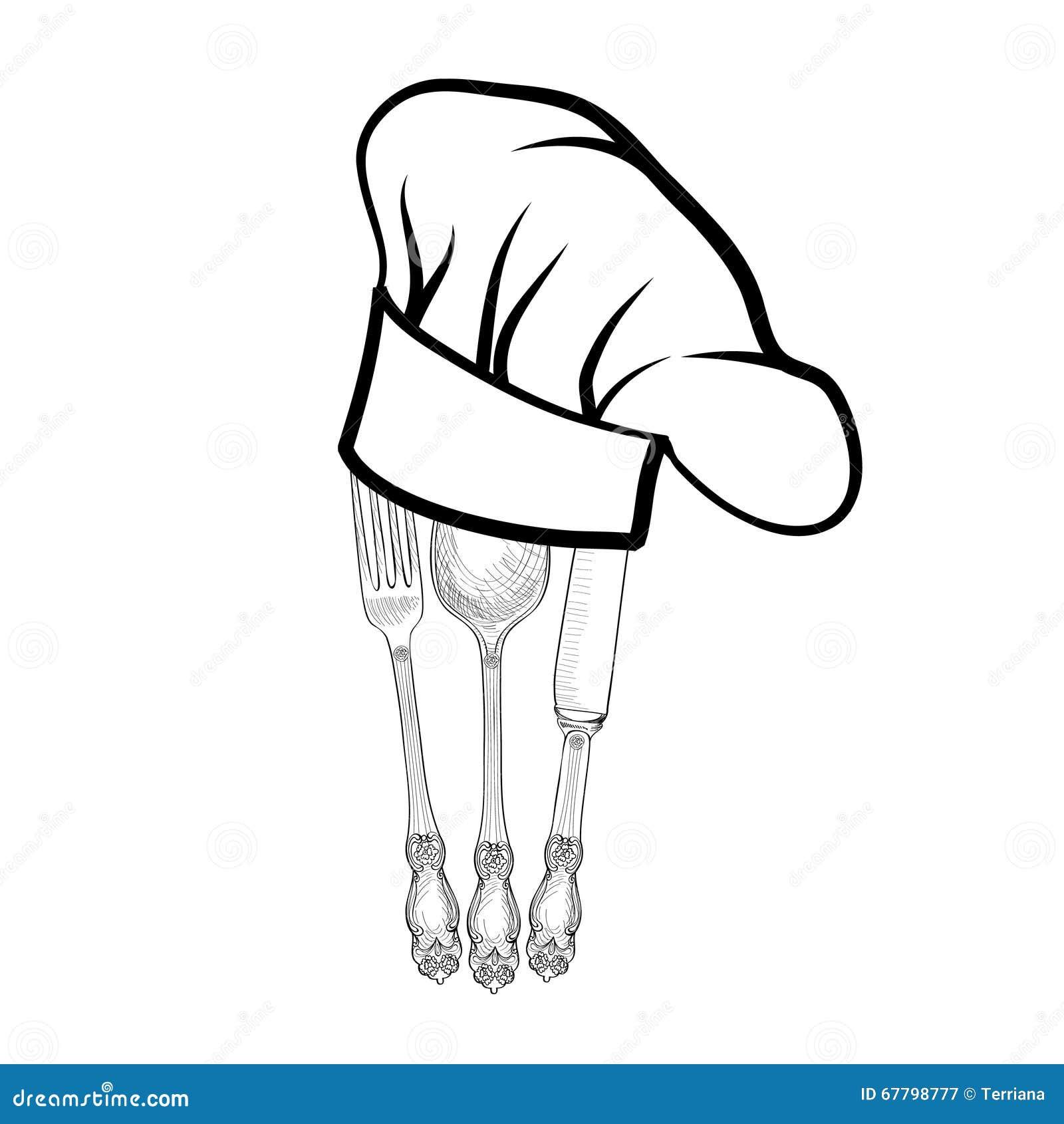 Le chapeau de cuisinier de chef avec la fourchette la cuill re et le couteau - Couteau de chef cuisinier ...