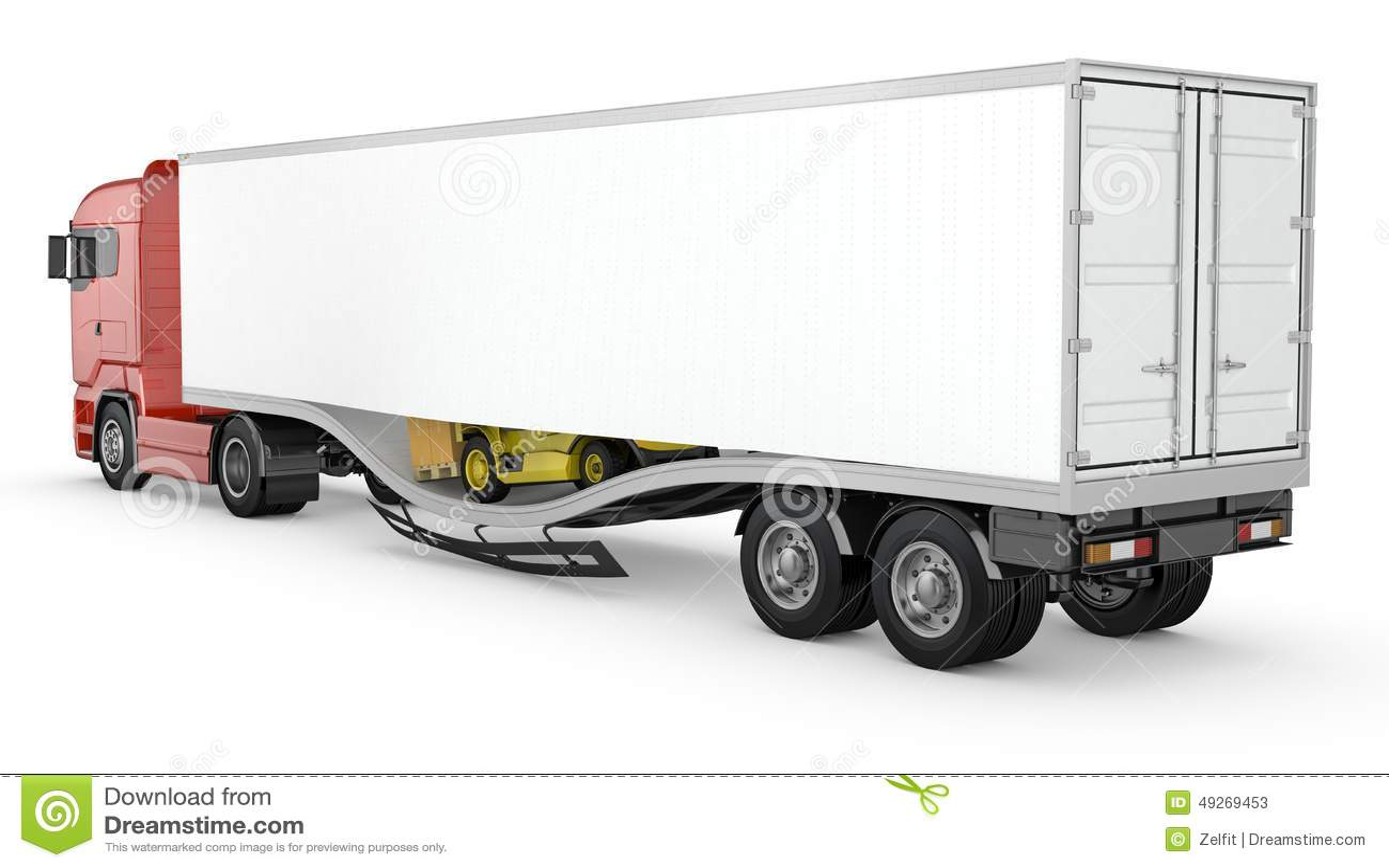le chariot l vateur casse le plancher de semi remorque de cuvette accident illustration stock. Black Bedroom Furniture Sets. Home Design Ideas