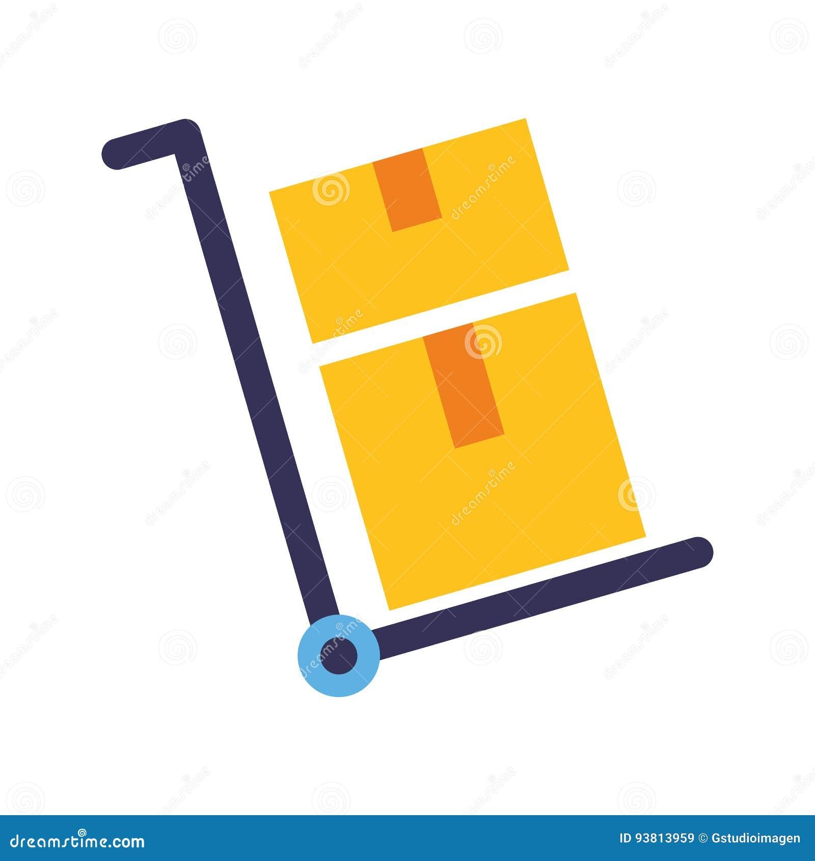 Le chariot de la livraison enferme dans une boîte l icône