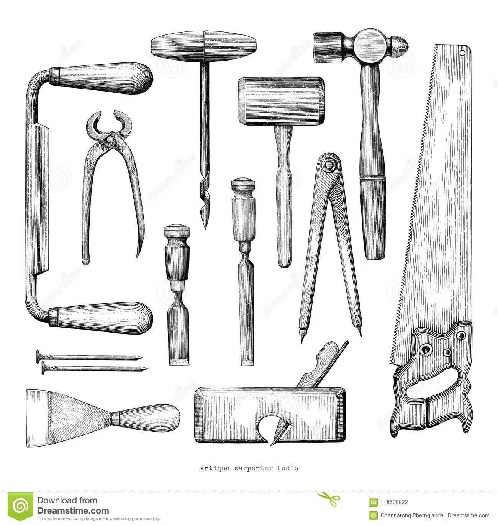 Le charpentier antique usine le style de vintage de dessin de main sur le dos de blanc