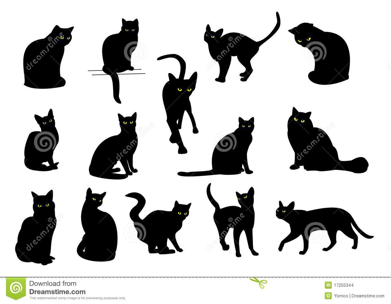 Gallery for chat noir dessin - Dessin silhouette chat ...