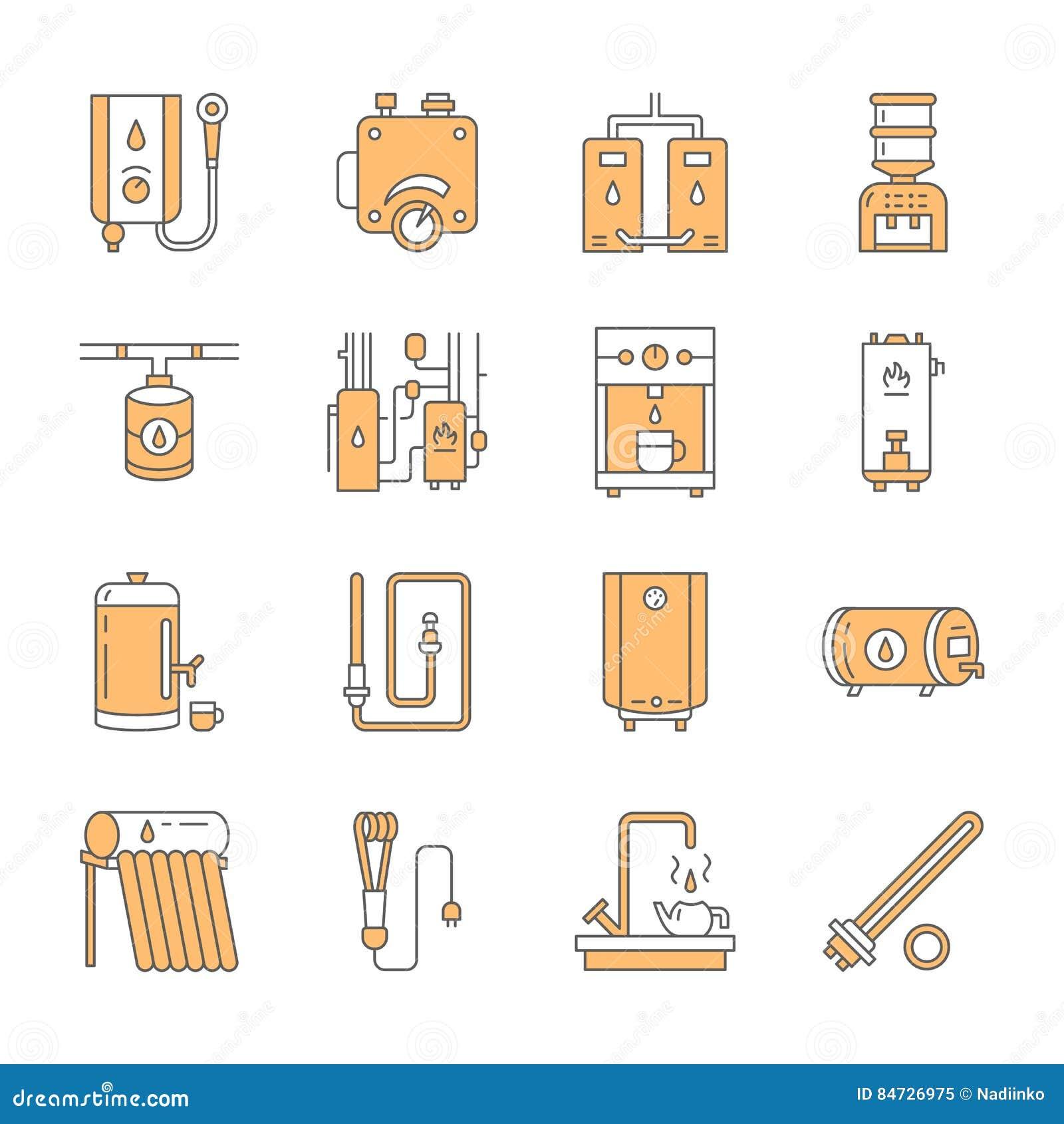 Le chauffe-eau, la chaudière, le thermostat, électriques, gaz, appareils de chauffage solaires et tout autre équipement de chauff