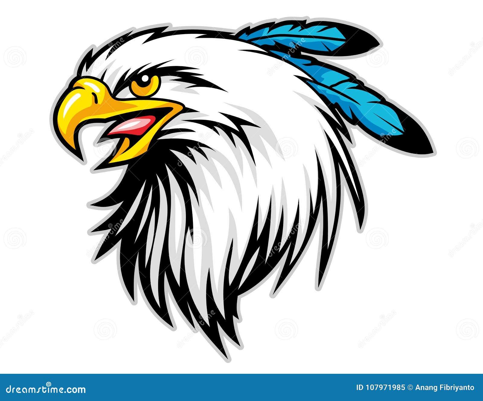 Le chef d aigle chauve avec le bleu fait varier le pas de la mascotte de bande dessinée peut employer pour le logo de sport