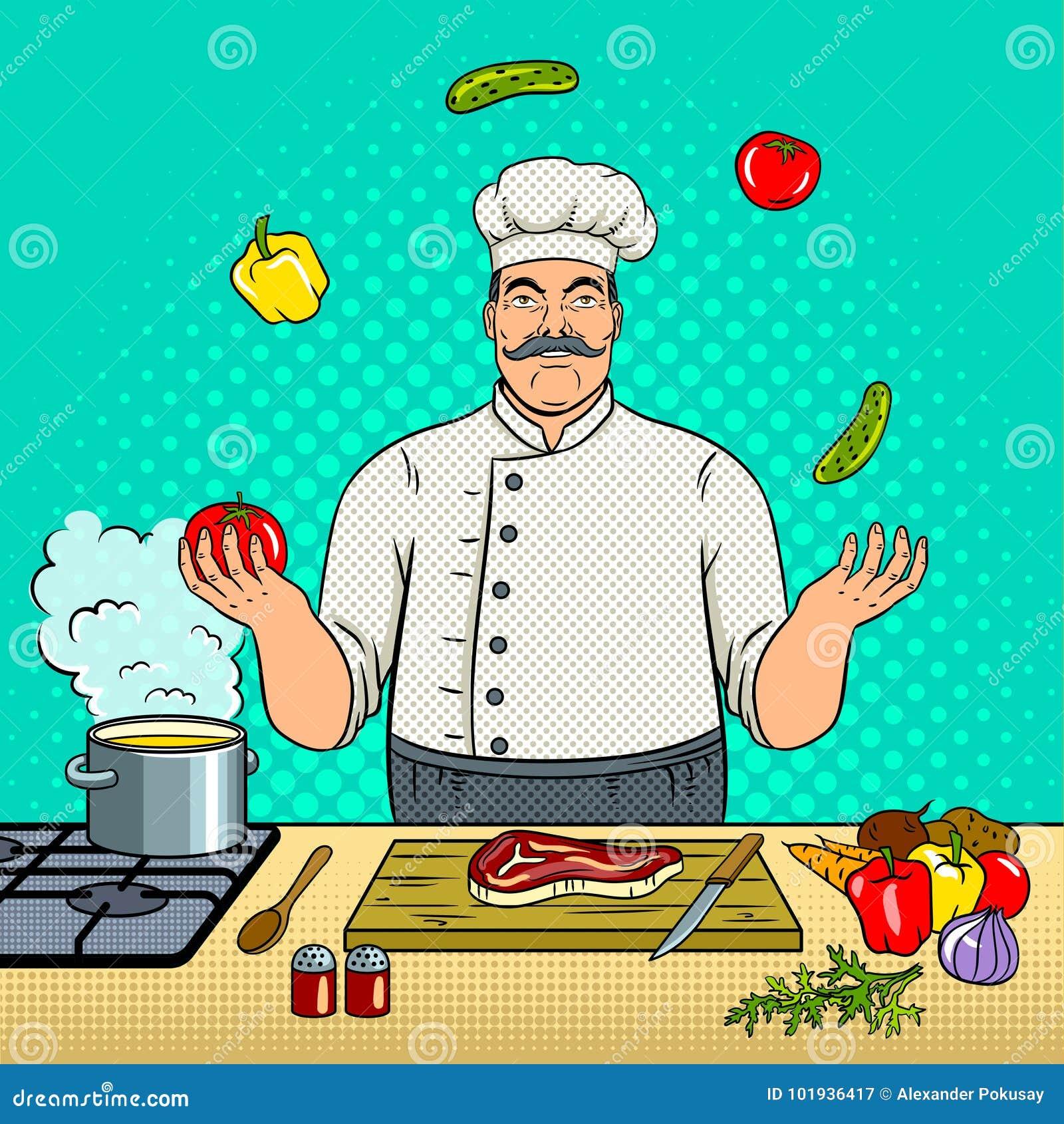 Le chef jongle avec le vecteur d art de bruit de légumes