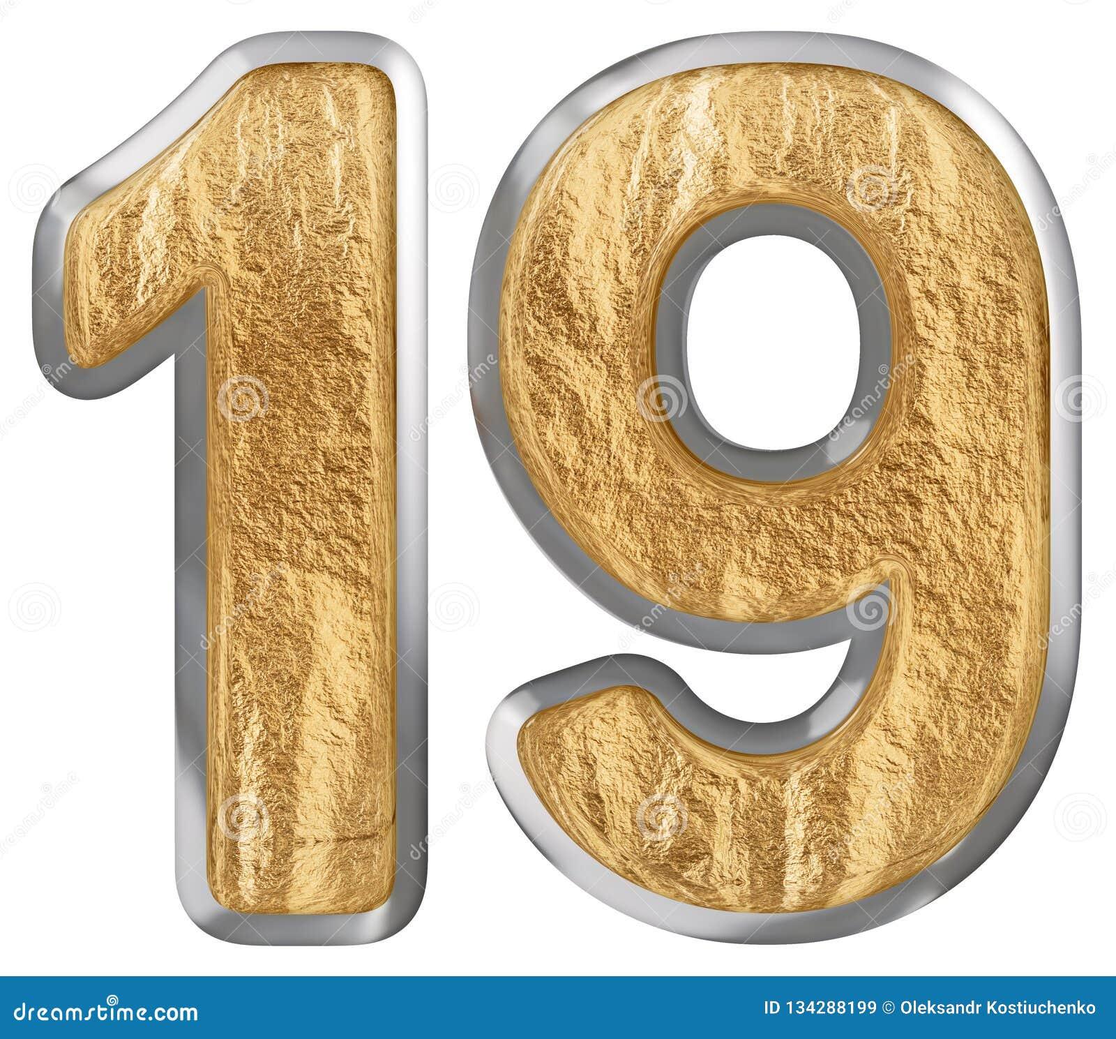 Le chiffre 19, dix-neuf, d isolement sur le fond blanc, 3d rendent