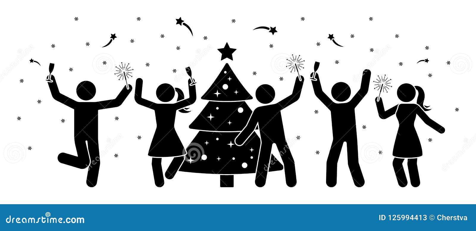 Le chiffre les gens de bâton à la nouvelle année font la fête l icône Hommes heureux et femmes dansant près du pictogramme d arbr