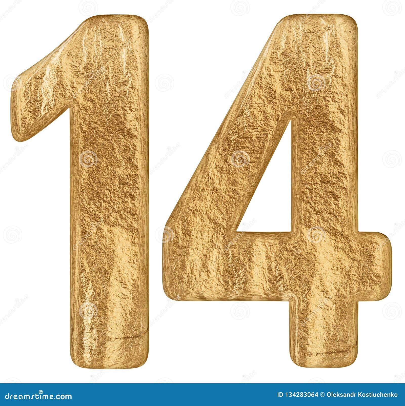 Le chiffre 14, quatorze, d isolement sur le fond blanc, 3d rendent