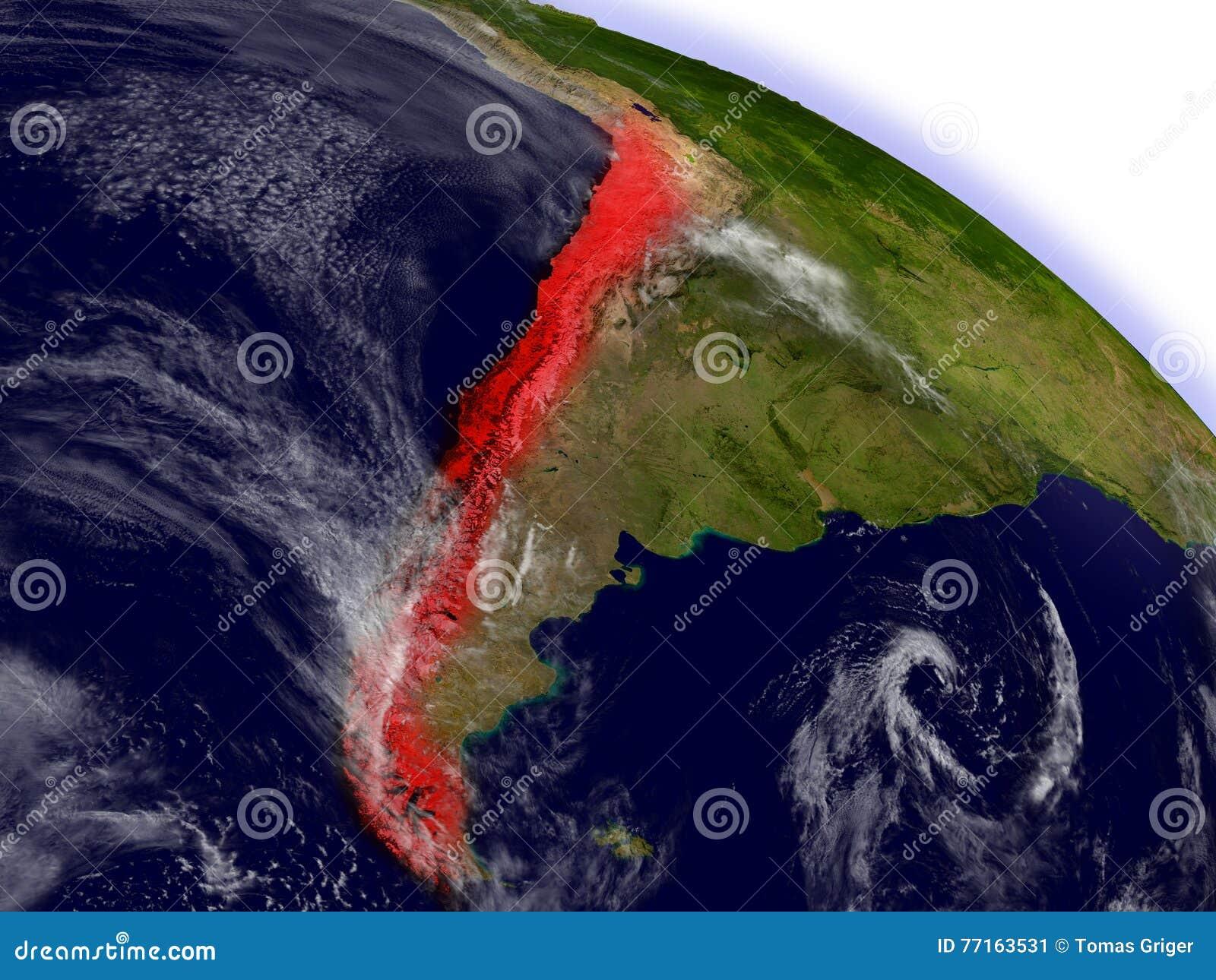 Le Chili de l espace accentué en rouge