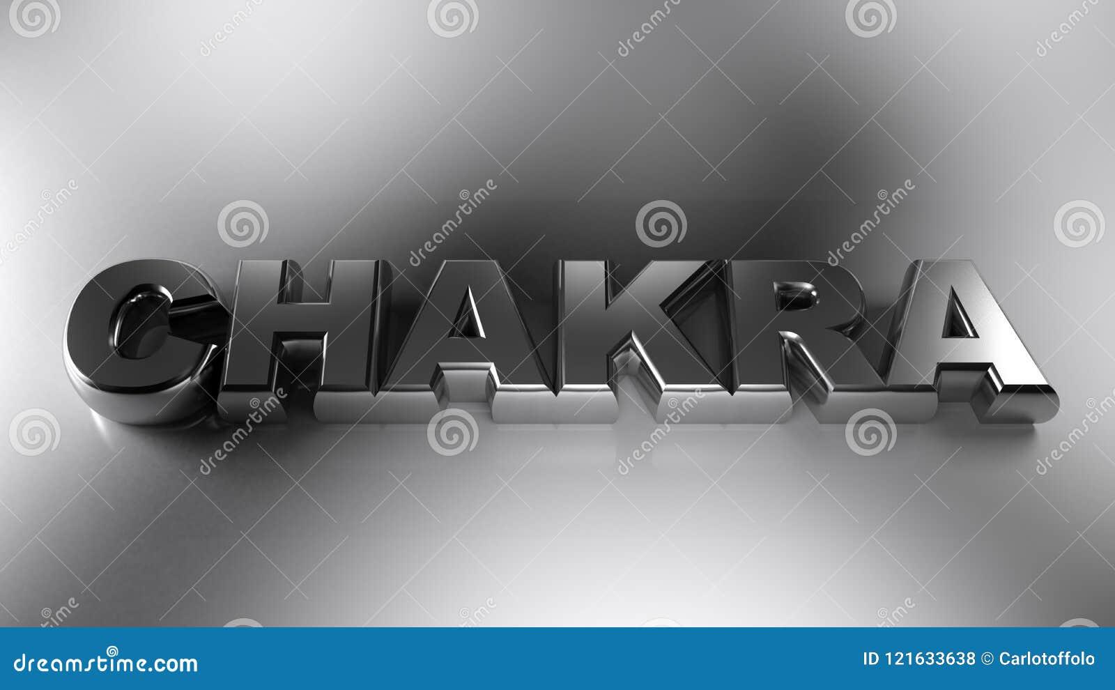 Le chrome métallique de CHAKRA écrivent - le rendu 3D