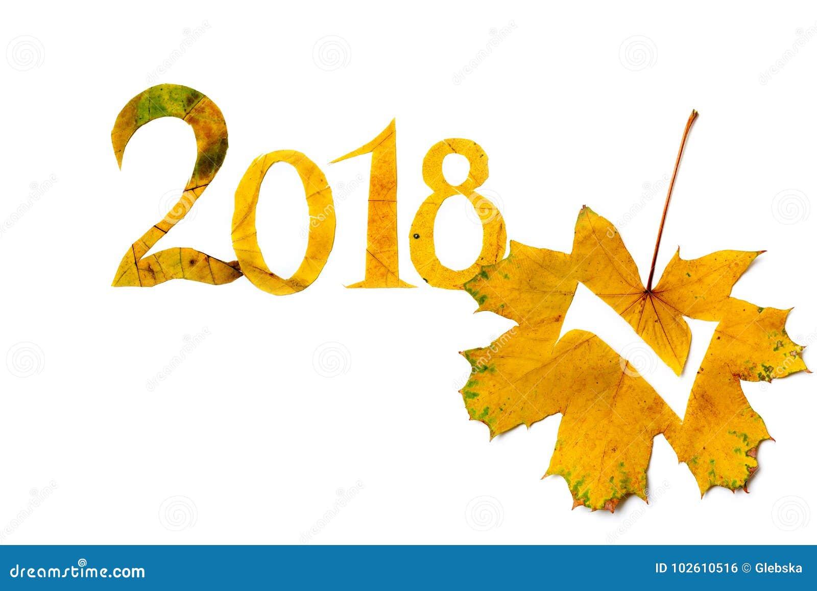 2018 le cifre hanno scolpito dalle foglie di acero gialle su fondo bianco