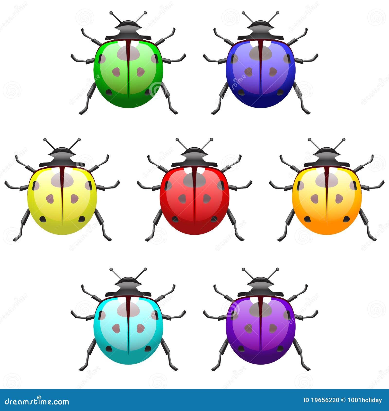 Le Coccinelle Acido Colorate Hanno Impostato Illustrazione