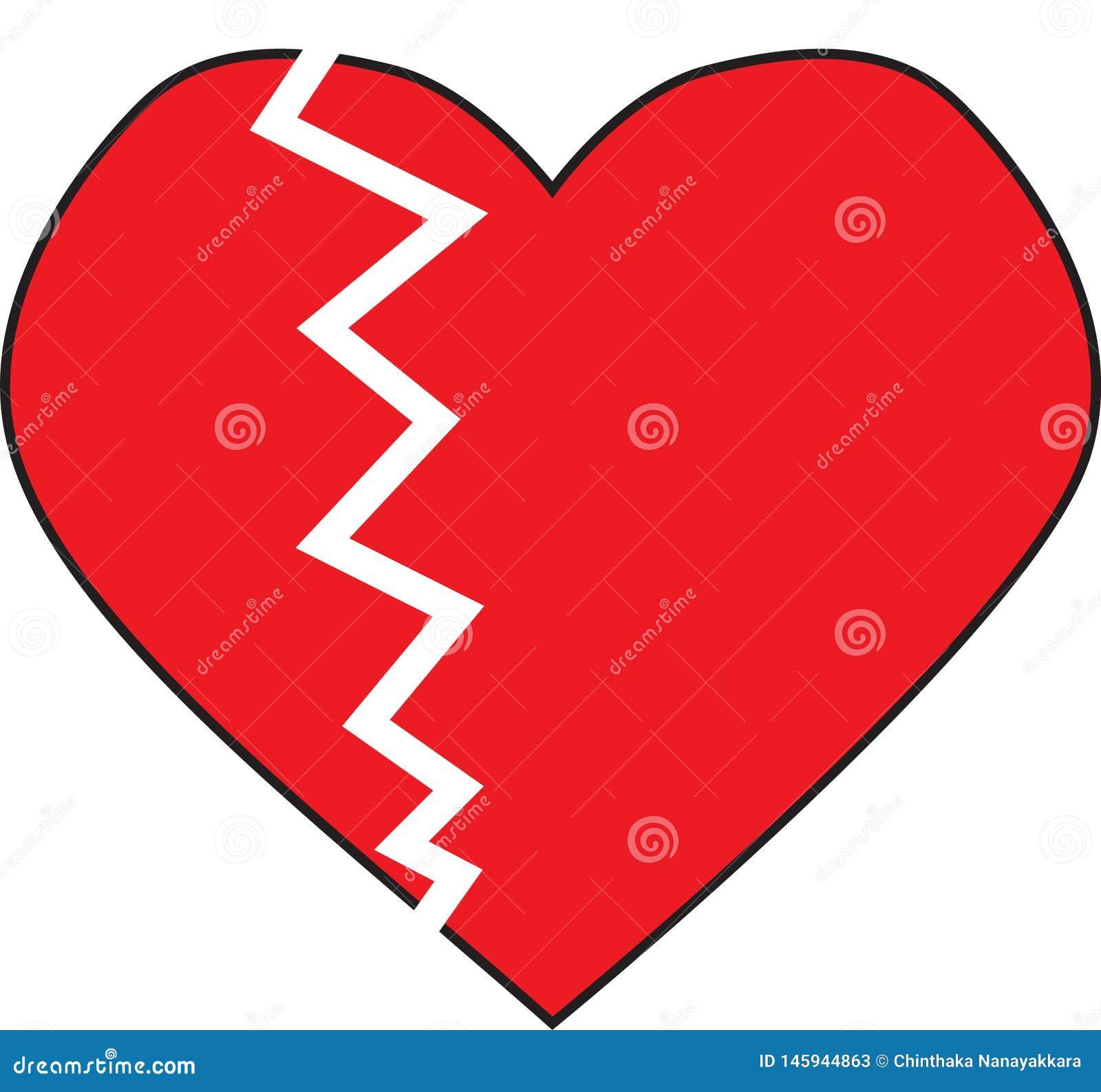 Le coeur brisé avec la marque criquée blanche