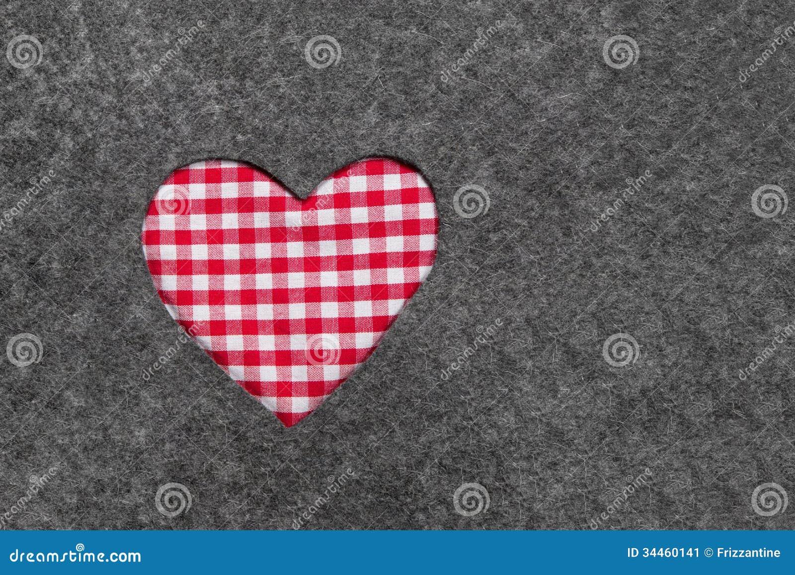 Le coeur carreaux rouge et blanc sur le gris a senti le fond image stock image 34460141 - Le rouge et le blanc ...