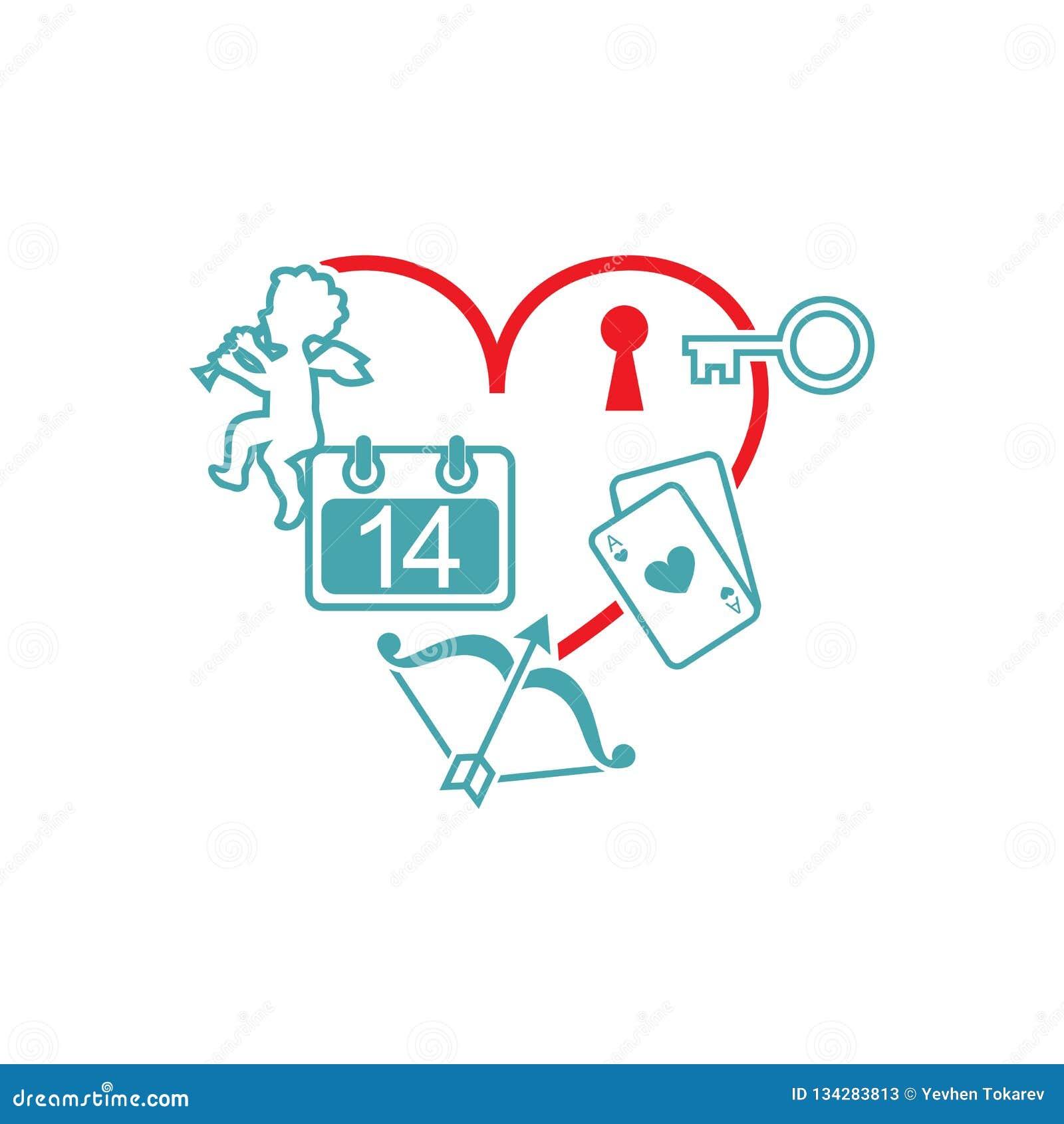 Le coeur d image de vecteur et une clé à la serrure, le calendrier, un ange, oignons avec une flèche, cartes de jeu
