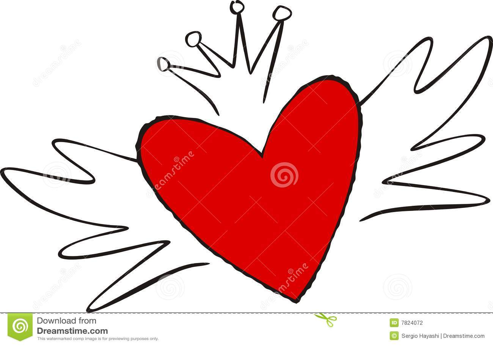 Le Coeur De Dessin Animé Sest Envolé Illustration De