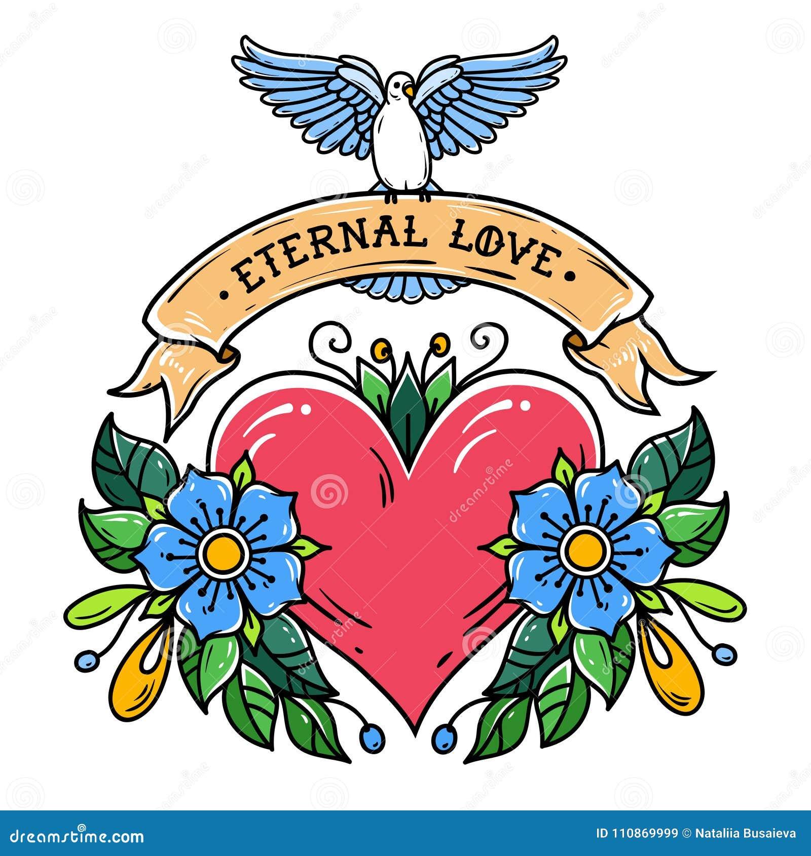 Le Coeur Rouge Avec Les Fleurs Le Ruban Et Le Blanc A Plonge Amour