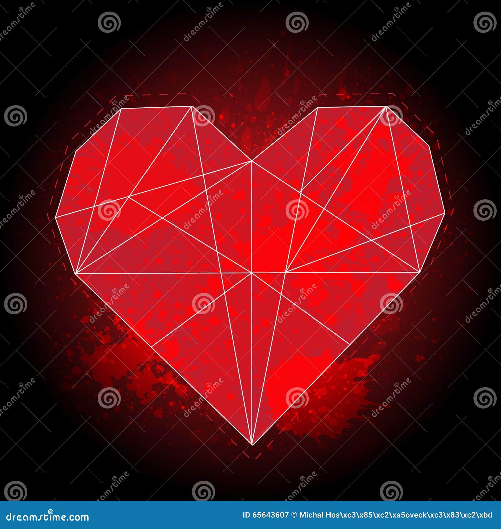 Le coeur rouge géométrique d origami sur le fond noir avec l aquarelle éclabousse