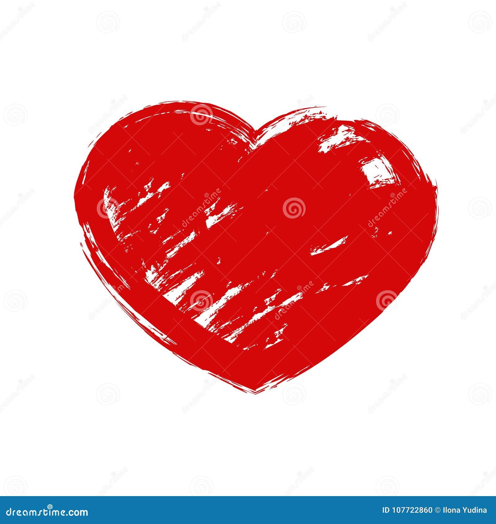 Le coeur tiré par la main grunge rouge avec éclabousse et les courses de brosse Symbole de l amour et du jour de la valentine s