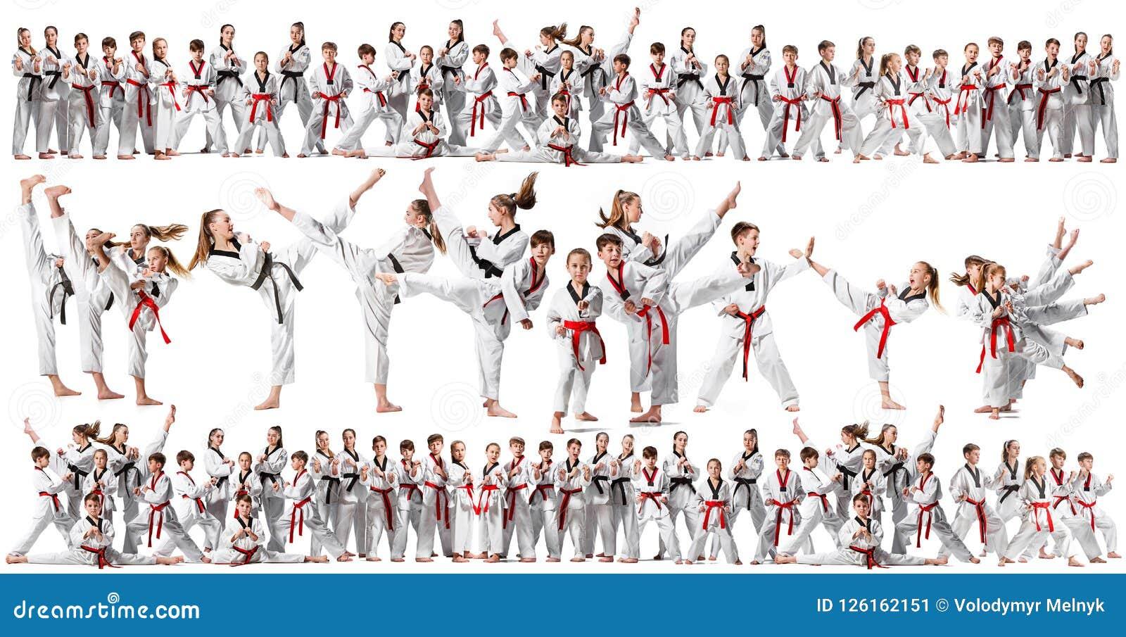 Le collage au sujet du groupe d enfants formant des arts martiaux de karaté