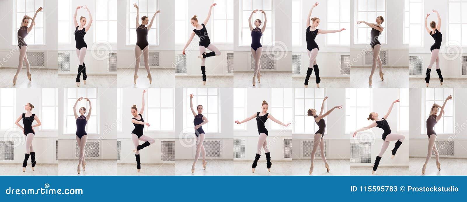 Le collage de la jeune ballerine se tenant dans le ballet pose