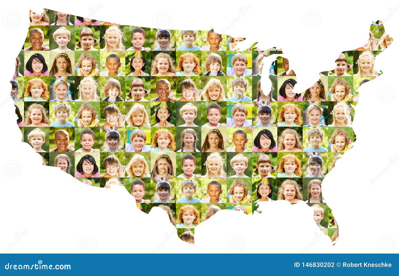 Le collage de portrait d enfants sur les Etats-Unis tracent