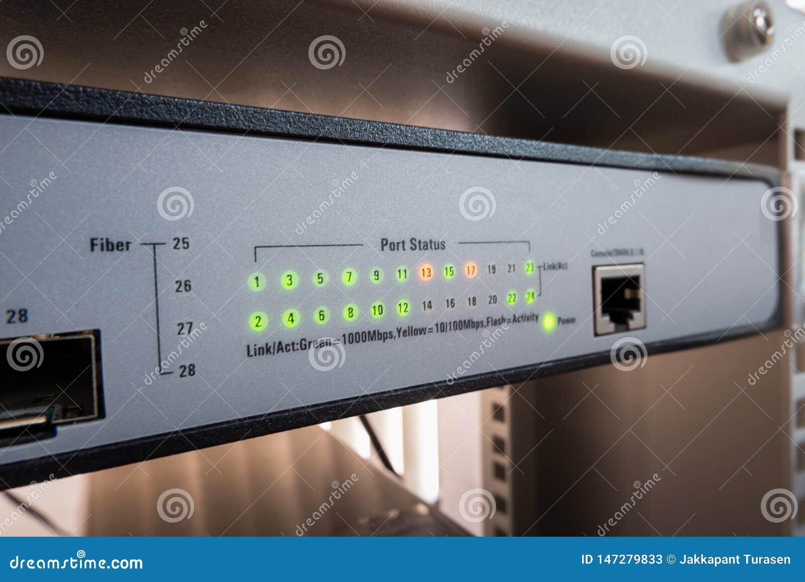 Le commutateur de réseau LED montrent en ligne le vert et le statut orange