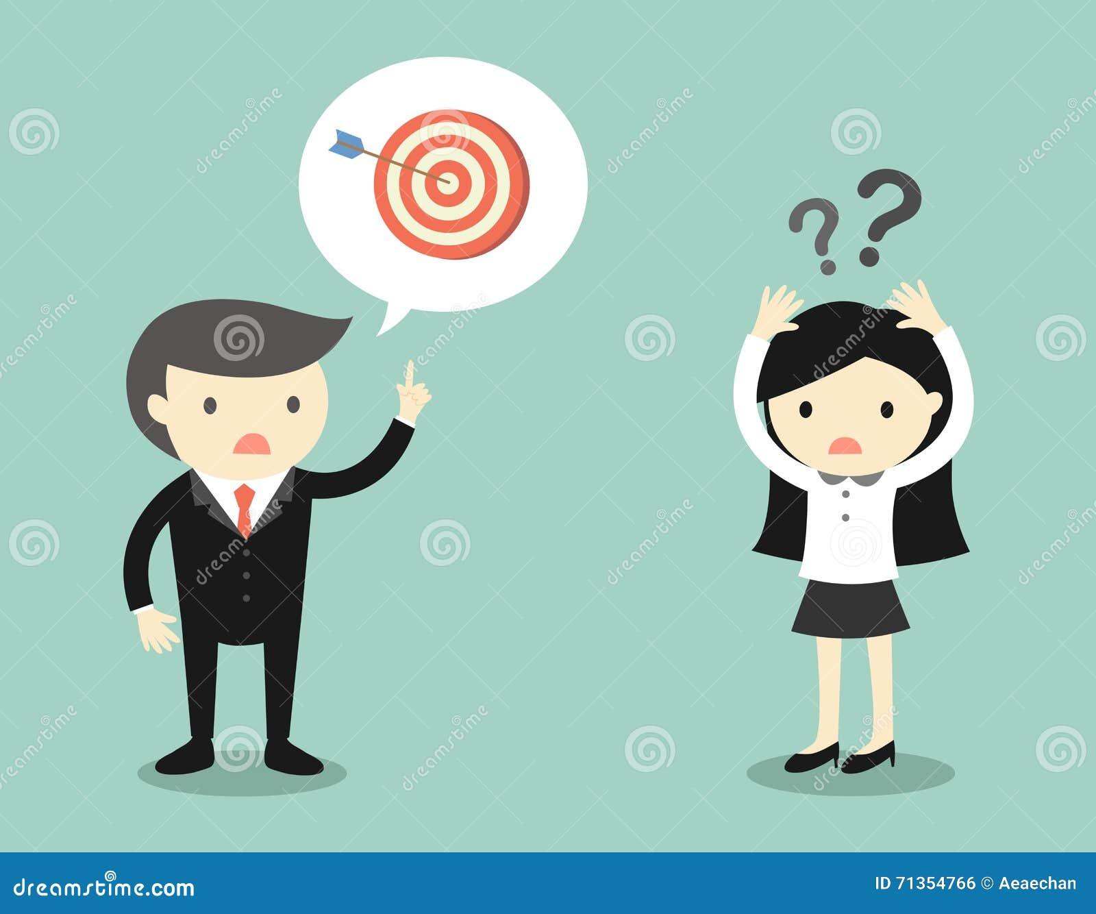 Le concept d affaires, patron parlant avec la femme d affaires au sujet de la cible mais elle est confus
