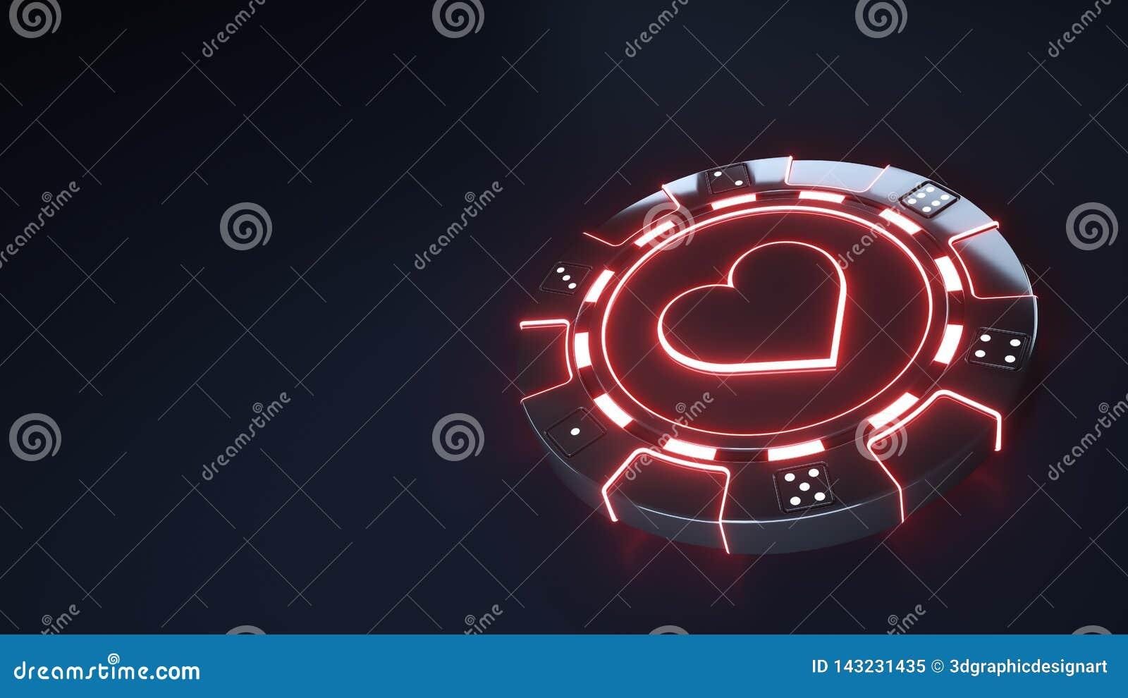Le concept de coeurs de puce de casino avec les lumières rouges au néon rougeoyantes et découpent des points d isolement sur le f