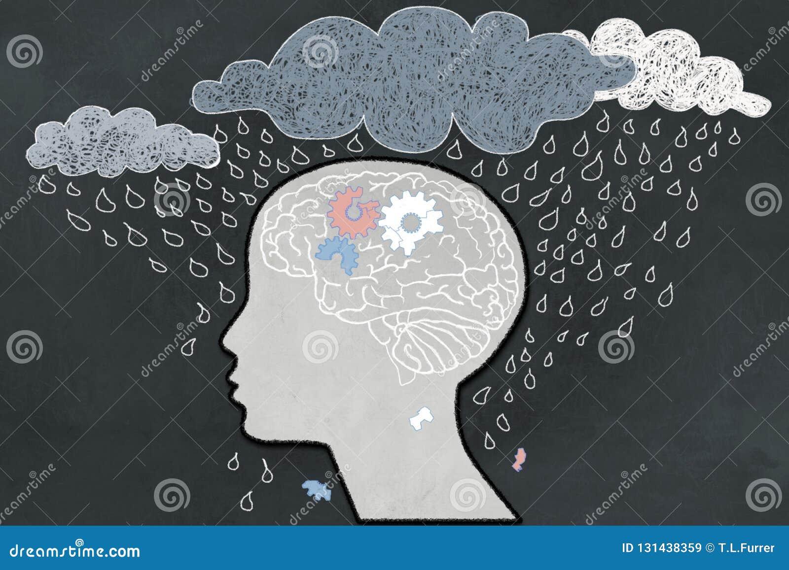 Le concept de dépression avec Heavy Rain a directement visé le profil humain dépressif avec un cerveau cassé Illustré avec la cra