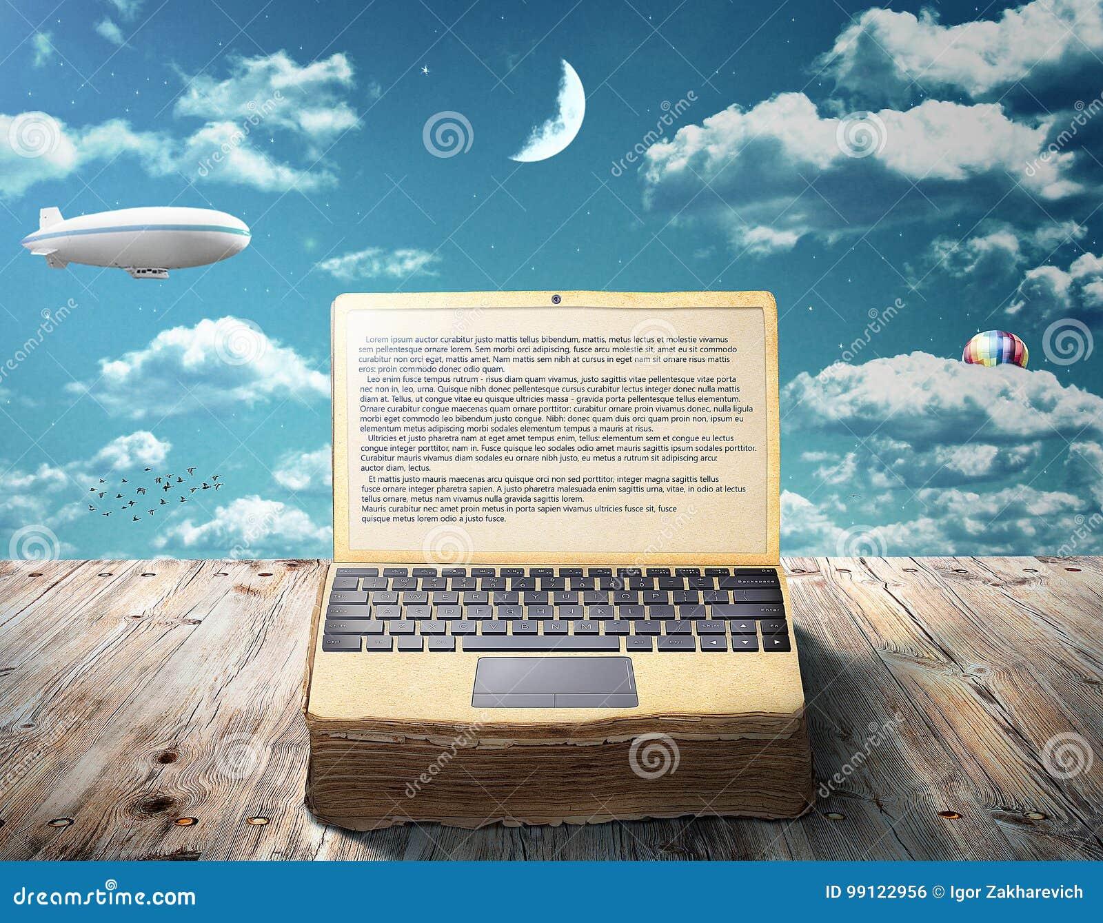 Le concept de l eBook Un livre ouvert comme ordinateur portable