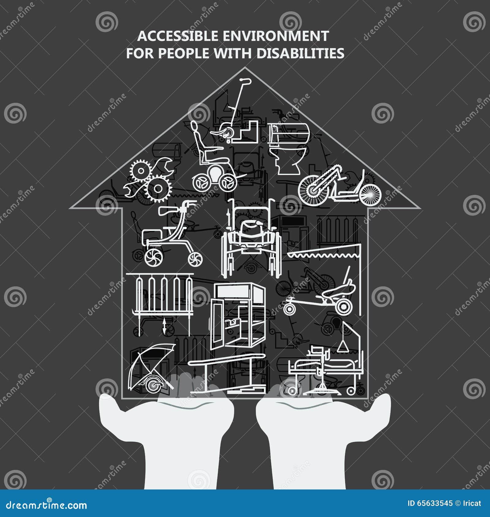 Le concept de l environnement accessible pour des personnes handicapées Chambre avec des icônes sur les paumes