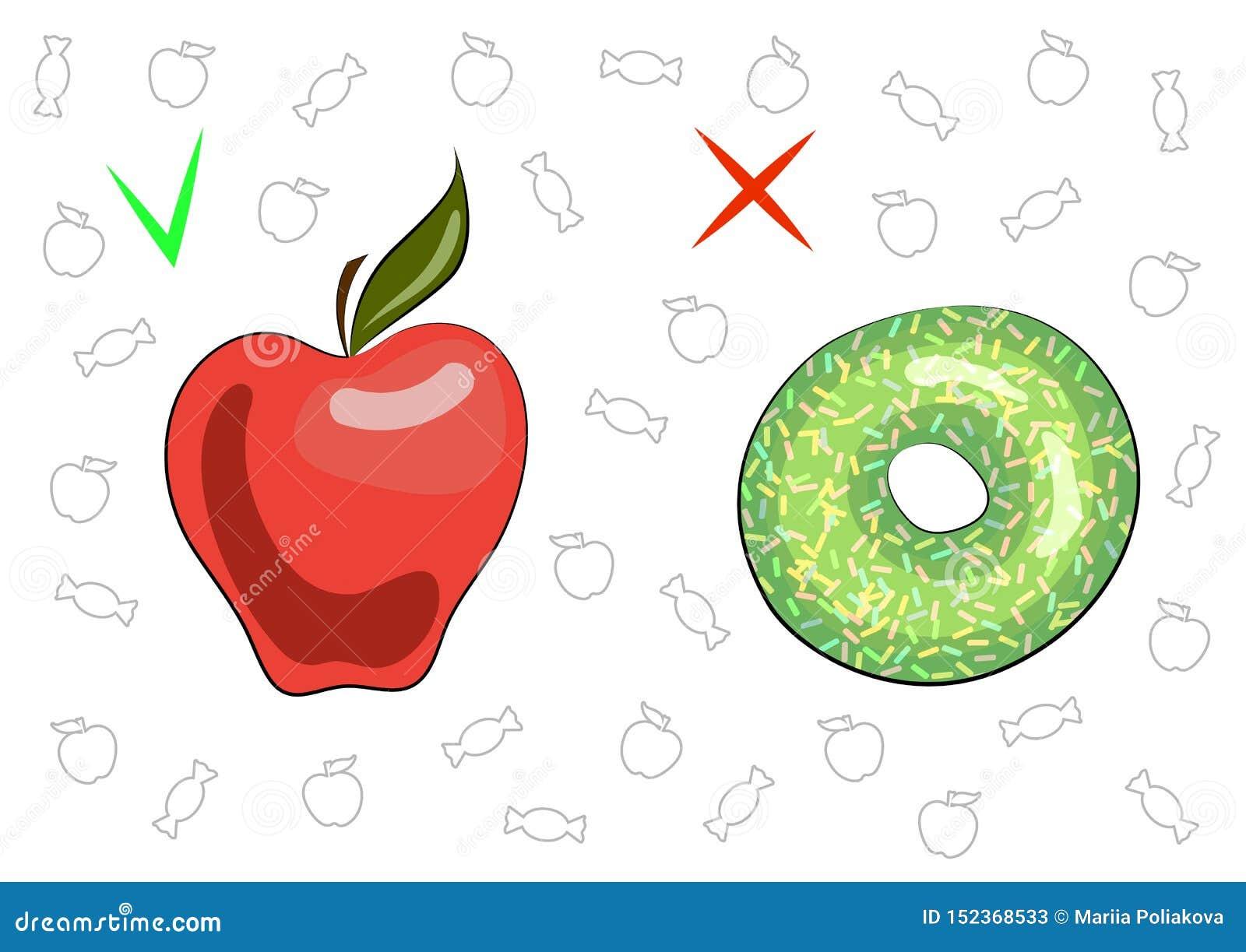 Le concept de la nourriture saine et n?faste Pomme savoureuse juteuse et beignet doux Les avantages et le mal de la nourriture Fr