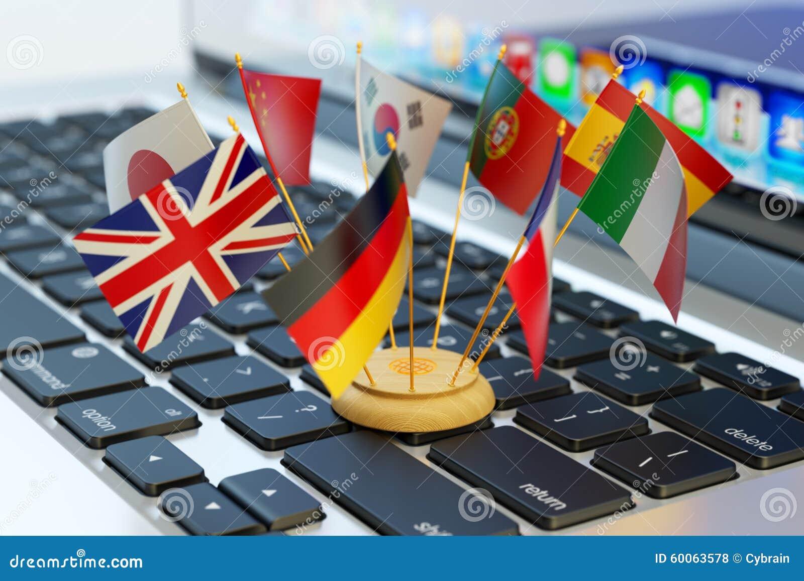 Le concept de télécommunication mondiale et d affaires, traduisent et apprentissage en ligne