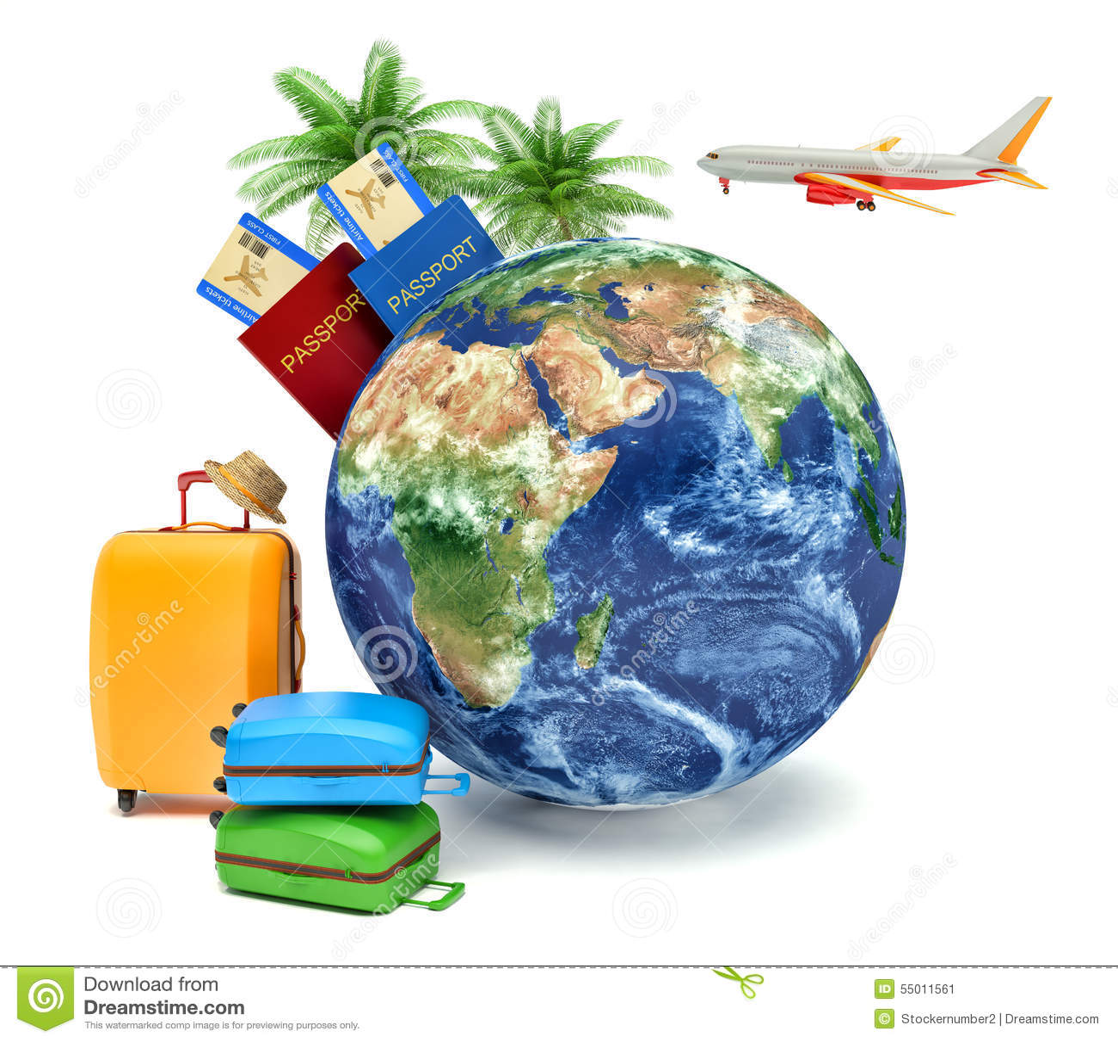 Le concept des vacances et du voyage Globe de la terre avec la ligne aérienne