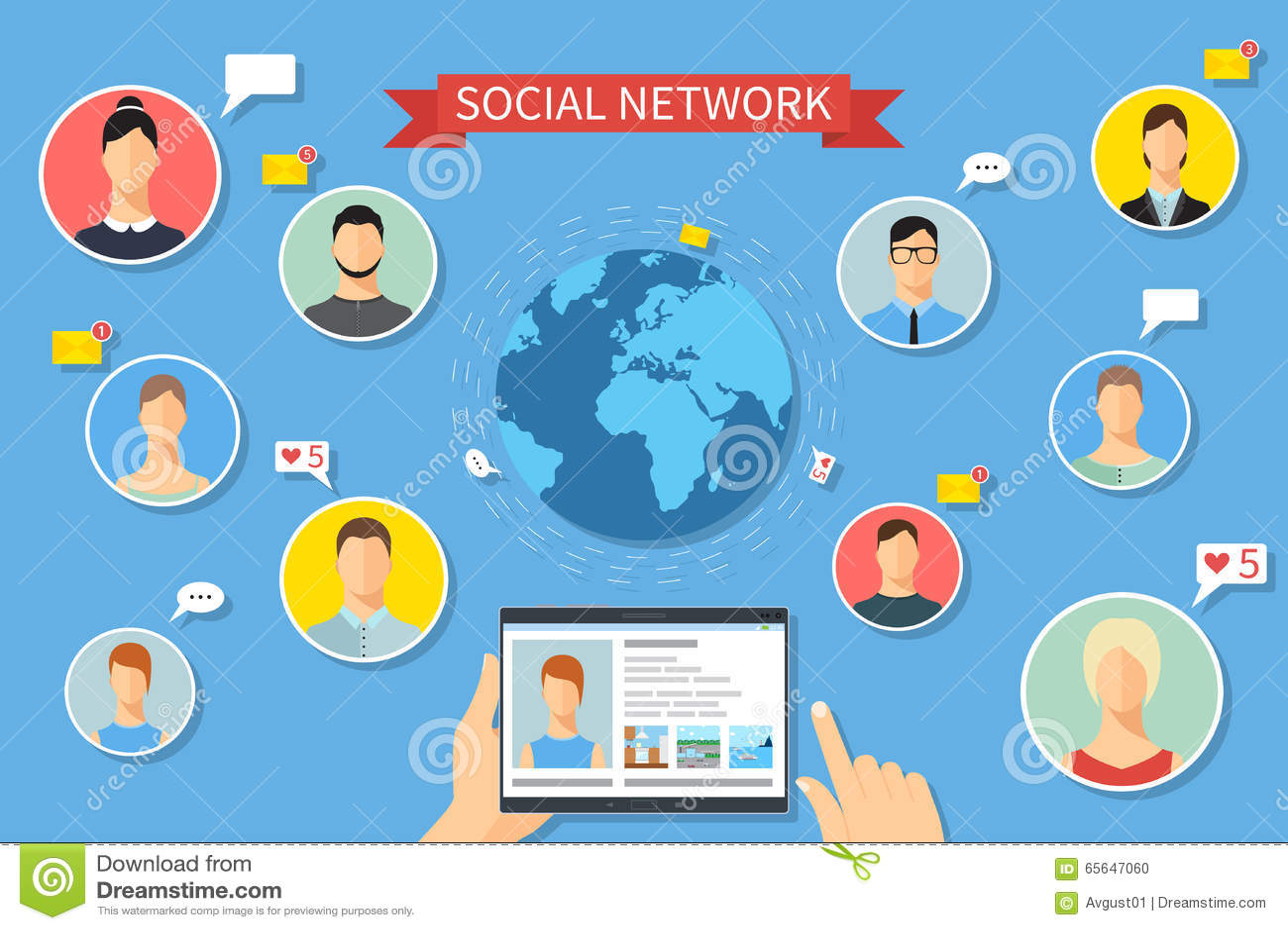 Le concept a digitalement produit salut du social de recherche de réseau d image