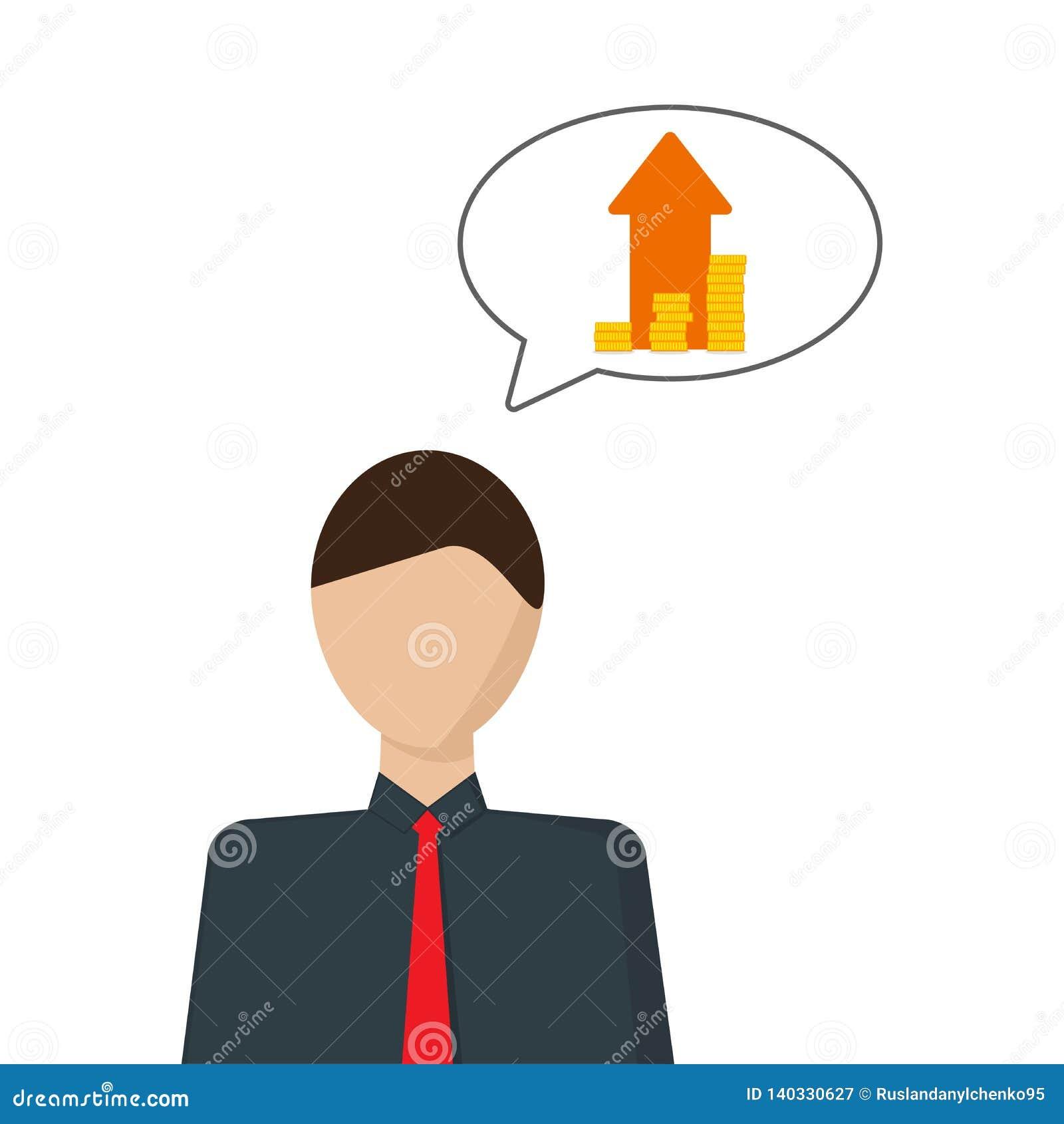 Le concept du développement financier Image de vecteur d une personne qui pense à la croissance d argent