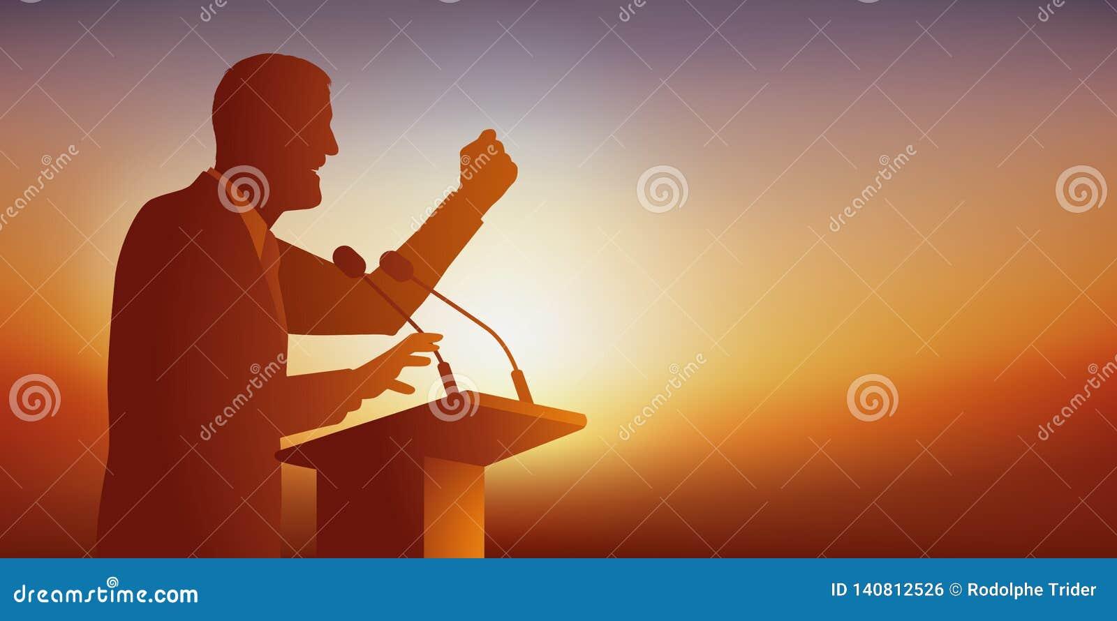 Le concept du discours avec un homme qui s adresse à un public viennent pour le voir lors de sa réunion