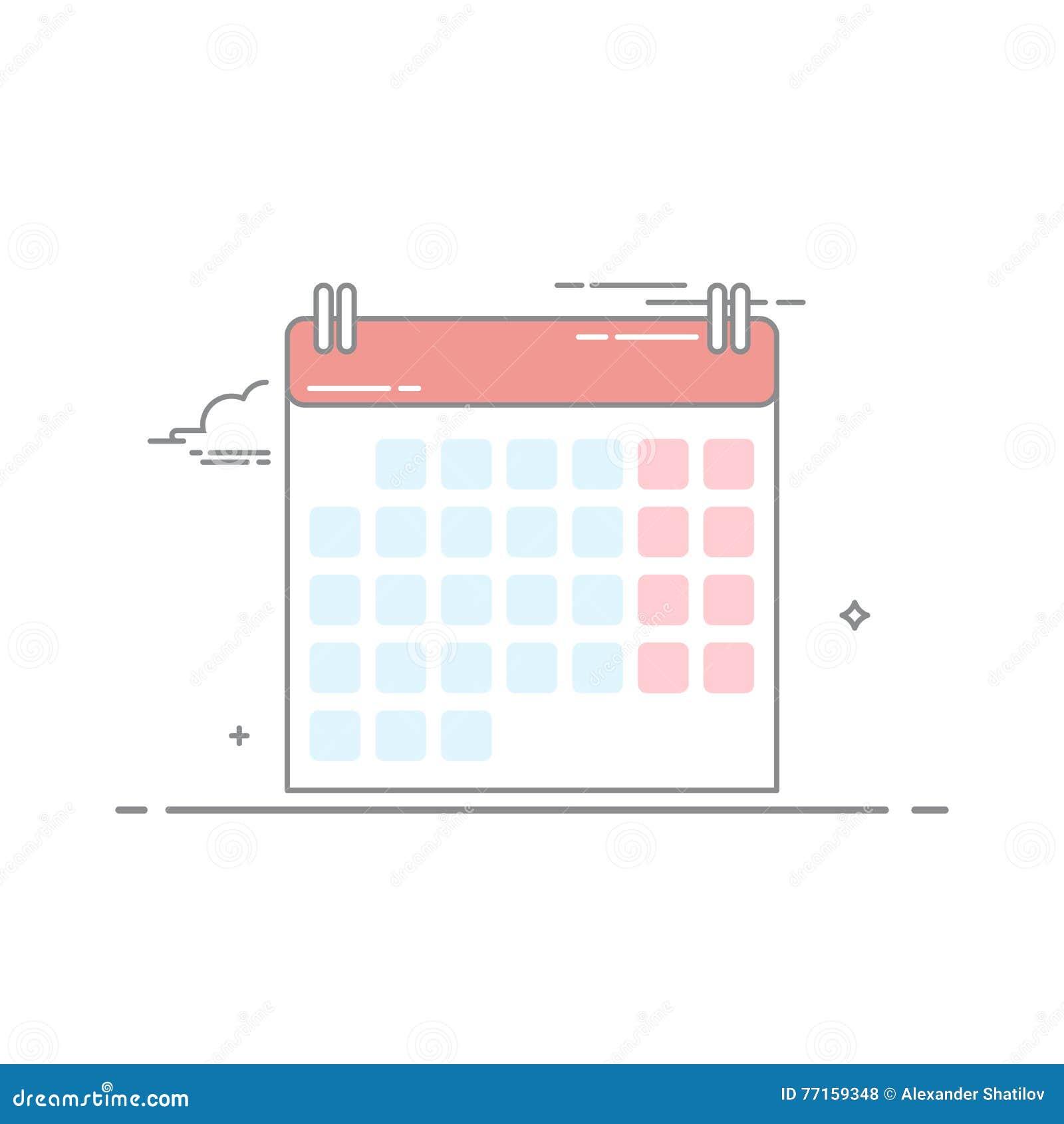 Le concept du mur-calendrier fait dans un style linéaire avec une course foncée Les jours quotidiens de la semaine et du mois