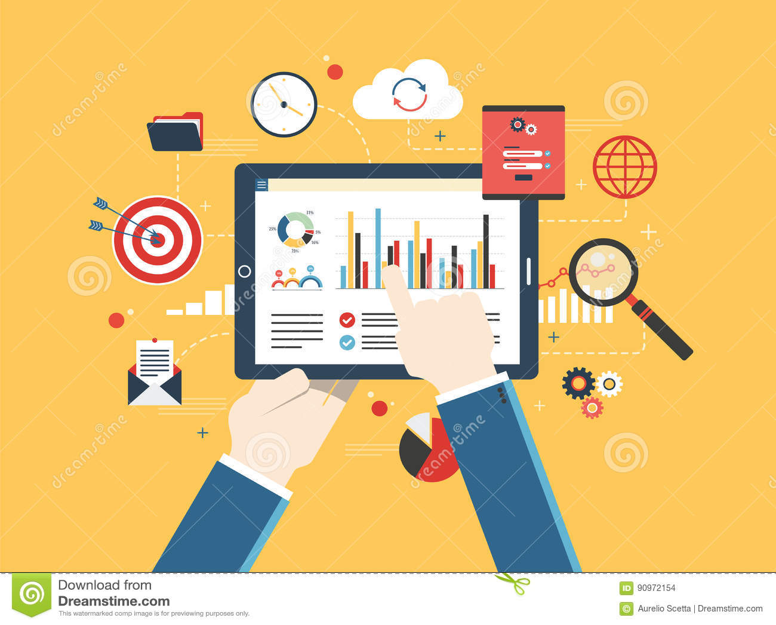 Le concept plat d illustration de vecteur de conception de l investissement, analytics avec la croissance rapportent