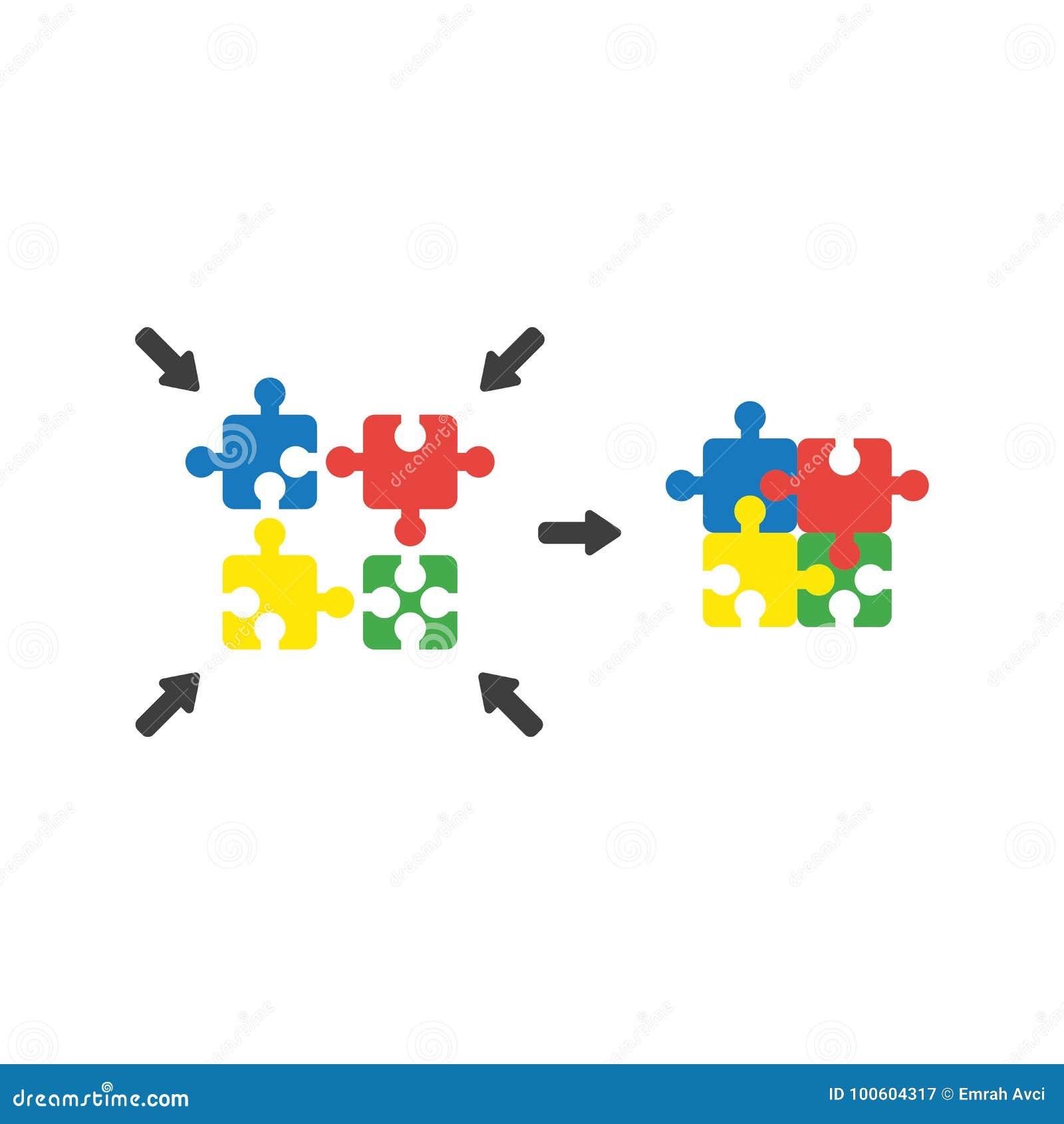 Le concept plat de vecteur de style de conception du puzzle à quatre parties rapièce des conn.