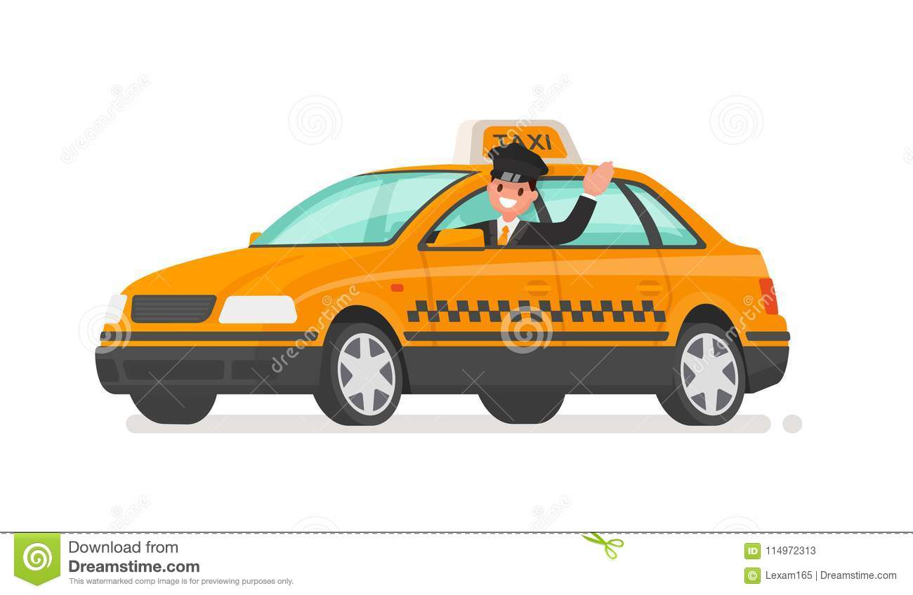 Le conducteur conduit une voiture de taxi Cabine jaune Illustration de vecteur